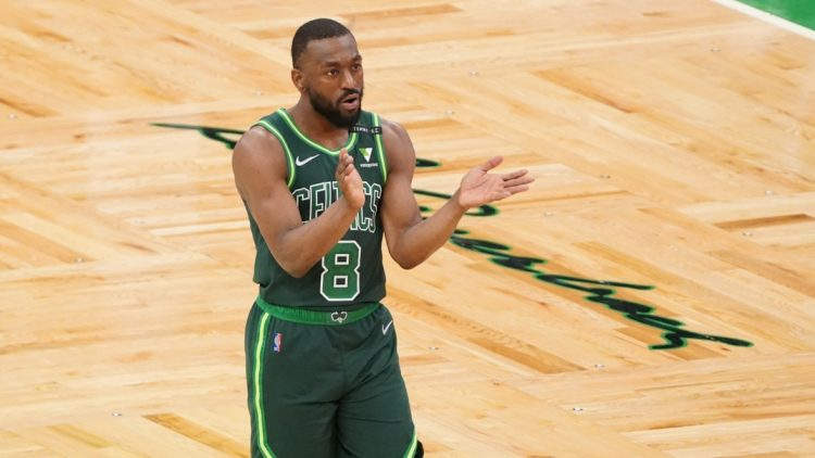May 11, 2021; Boston, Massachusetts, USA; Boston Celtics guard Kemba Walker (8) reacts after his three point basket against the Miami Heat in the second quarter at TD Garden. Mandatory Credit: David Butler II-USA TODAY Sports
