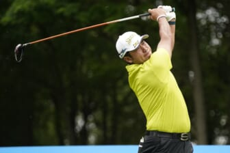 May 16, 2021; McKinney, Texas, USA; Hideki Matsuyama plays his shot from the second tee during the final round of the AT&T Byron Nelson golf tournament. Mandatory Credit: Jim Cowsert-USA TODAY Sports