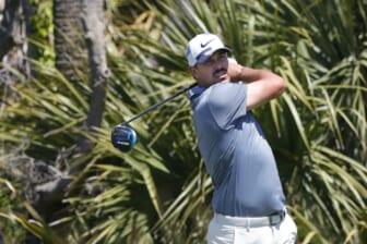 May 20, 2021; Kiawah Island, South Carolina, USA; Brooks Koepka hits his tee shot on the 2nd hole during the first round of the PGA Championship golf tournament. Mandatory Credit: Geoff Burke-USA TODAY Sports