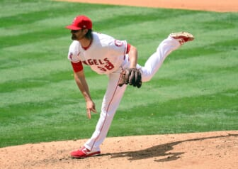 May 20, 2021; Anaheim, California, USA; Los Angeles Angels starting pitcher Alex Cobb (38) throws against the Minnesota Twins during the fourth inning at Angel Stadium. Mandatory Credit: Gary A. Vasquez-USA TODAY Sports