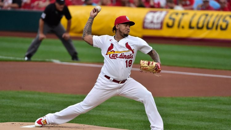 May 21, 2021; St. Louis, Missouri, USA;  St. Louis Cardinals starting pitcher Carlos Martinez (18) pitches during the first inning against the Chicago Cubs at Busch Stadium. Mandatory Credit: Jeff Curry-USA TODAY Sports
