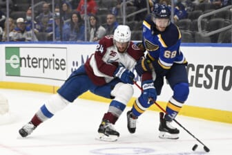 May 21, 2021; St. Louis, Missouri, USA; Colorado Avalanche defenseman Patrik Nemeth (24) battles St. Louis Blues center Mike Hoffman (68) in game three of the first round of the 2021 Stanley Cup Playoffs at Enterprise Center. Mandatory Credit: Jeff Le-USA TODAY Sports