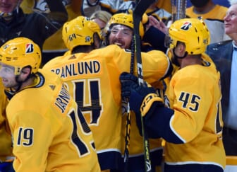 May 21, 2021; Nashville, Tennessee, USA; Nashville Predators center Matt Duchene (95) celebrates with teammates after scoring the game-winning goal in the second overtime against the Carolina Hurricanes in game three of the first round of the 2021 Stanley Cup Playoffs at Bridgestone Arena. Mandatory Credit: Christopher Hanewinckel-USA TODAY Sports