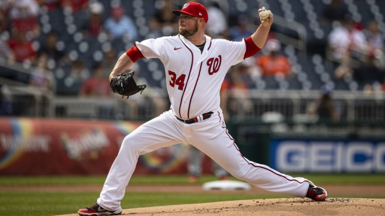 May 22, 2021; Washington, District of Columbia, USA; Washington Nationals starting pitcher Jon Lester (34) pitches during the first inning against the Baltimore Orioles  at Nationals Park. Mandatory Credit: Scott Taetsch-USA TODAY Sports