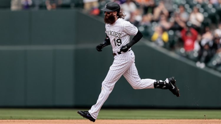 May 22, 2021; Denver, Colorado, USA; Colorado Rockies right fielder Charlie Blackmon (19) rounds the bases on a two run home run in the sixth inning against the Arizona Diamondbacks at Coors Field. Mandatory Credit: Isaiah J. Downing-USA TODAY Sports