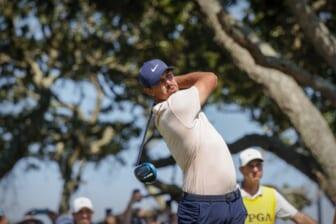 May 23, 2021; Kiawah Island, South Carolina, USA; Brooks Koepka hits from the tee during the final round of the PGA Championship golf tournament. Mandatory Credit: Geoff Burke-USA TODAY Sports
