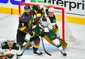 May 24, 2021; Las Vegas, Nevada, USA; Vegas Golden Knights defenseman Alex Pietrangelo (7) battles for position against Minnesota Wild center Joel Eriksson Ek (14) in front of Vegas Golden Knights goaltender Marc-Andre Fleury (29) during the first period of game five of the first round of the 2021 Stanley Cup Playoffs at T-Mobile Arena. Mandatory Credit: Stephen R. Sylvanie-USA TODAY Sports