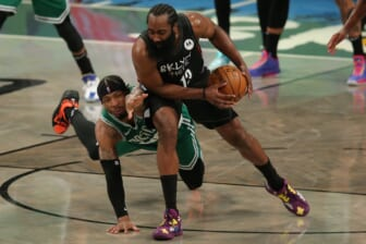 May 25, 2021; Brooklyn, New York, USA; Brooklyn Nets shooting guard James Harden (13) is fouled by Boston Celtics point guard Marcus Smart (36) during the second quarter of game two of the first round of the 2021 NBA Playoffs at Barclays Center. Mandatory Credit: Brad Penner-USA TODAY Sports
