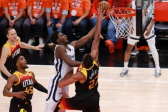 May 26, 2021; Salt Lake City, Utah, USA; Utah Jazz center Rudy Gobert (27) defends against Memphis Grizzlies forward Jaren Jackson Jr. (13) during the second quarter in game two of the first round of the 2021 NBA Playoffs at Vivint Arena. Mandatory Credit: Chris Nicoll-USA TODAY Sports