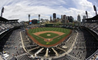 May 27, 2021; Pittsburgh, Pennsylvania, USA;  General view as the Chicago Cubs bat against the Pittsburgh Pirates during the fifth inning at PNC Park. Mandatory Credit: Charles LeClaire-USA TODAY Sports