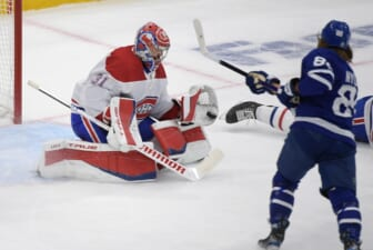 May 27, 2021; Toronto, Ontario, CAN;  Montreal Canadiens goalie Carey Price (31) saves a shot from Toronto Maple Leafs forward William Nylander (88) in game five of the first round of the 2021 Stanley Cup Playoffs at Scotiabank Arena. Mandatory Credit: Dan Hamilton-USA TODAY Sports