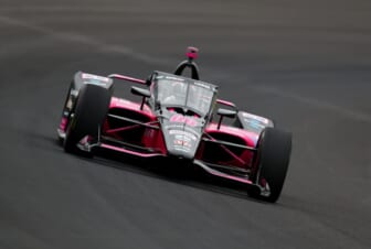 May 28, 2021; Indianapolis, IN, USA; IndyCar Series driver Helio Castroneves during Carb Day practice for the Indianapolis 500 at Indianapolis Motor Speedway. Mandatory Credit: Mark J. Rebilas-USA TODAY Sports