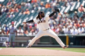 May 31, 2021; San Francisco, California, USA; San Francisco Giants pitcher Johnny Cueto (47) delivers a pitch against the Los Angeles Angels in the first inning at Oracle Park. Mandatory Credit: Cary Edmondson-USA TODAY Sports