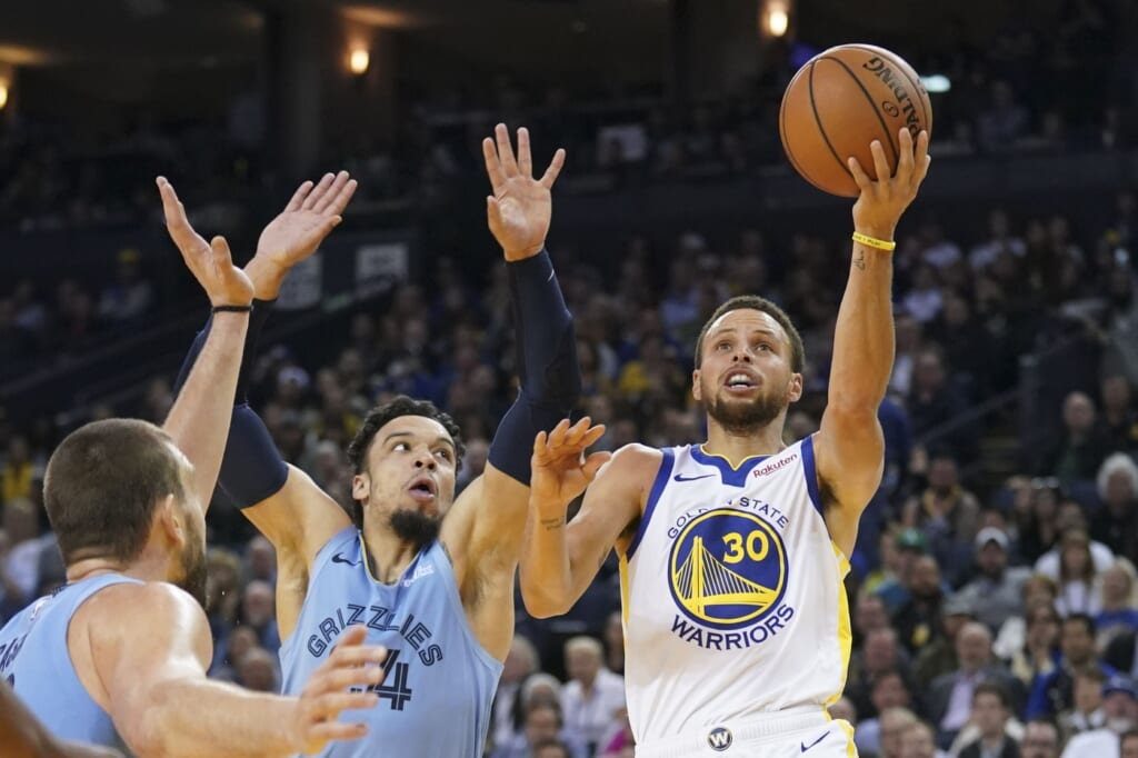 Golden State Warriors Stephen Curry, Memphis Grizzlies Dillon Brooks