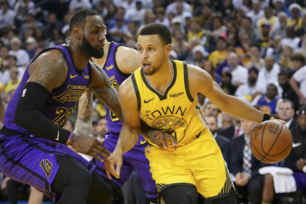 NBA stars Stephen Curry, LeBron James, Golden State Warriors and Los Angeles Lakers