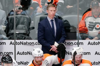 Mar 28, 2018; Denver, CO, USA; Philadelphia Flyers head coach Dave Hakstol looks on in the second period against the Colorado Avalanche at the Pepsi Center. Mandatory Credit: Isaiah J. Downing-USA TODAY Sports