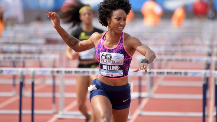 Apr 21, 2018; Torrance, CA, USA; Brianna Rollins-McNeal wins the women's 100m hurdles in a meet-record 12.43  during the 60th Mt. San Antonio College Relays at Murdock Stadium. Mandatory Credit: Kirby Lee-USA TODAY Sports