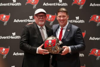 Jan 10, 2019; Tampa, FL, USA; Tampa Bay Buccaneers general manager Jason Licht and head coach Bruce Arians pose for a photo at AdventHealth Training Center. Mandatory Credit: Kim Klement-USA TODAY Sports