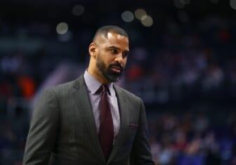 Oct 31, 2018; Phoenix, AZ, USA; San Antonio Spurs assistant coach Ime Udoka against the Phoenix Suns at Talking Stick Resort Arena. Mandatory Credit: Mark J. Rebilas-USA TODAY Sports