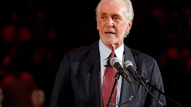 Mar 26, 2019; Miami, FL, USA; Miami Heat president Pat Riley speaks during the jersey retirement of former player Chris Bosh during halftime of the game between the Miami Heat and the Orlando Magic at American Airlines Arena. Mandatory Credit: Jasen Vinlove-USA TODAY Sports