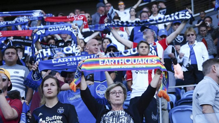 Aug 3, 2019; San Jose, CA, USA; San Jose Earthquakes fans hold up their scarves before the game against the Columbus Crew SC at Avaya Stadium. Mandatory Credit: Kelley L Cox-USA TODAY Sports