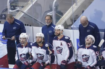 Aug 19, 2020; Toronto, Ontario, CAN; Columbus Blue Jackets head coach John Tortorella watches game action against the Tampa Bay Lightning during the second period in game five of the first round of the 2020 Stanley Cup Playoffs at Scotiabank Arena. Mandatory Credit: John E. Sokolowski-USA TODAY Sports