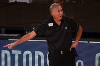 Sep 2, 2020; Lake Buena Vista, Florida, USA; Houston Rockets head coach Mike D'Antoni reacts during the first half of game seven of the first round of the 2020 NBA Playoffs against the Oklahoma City Thunder at ESPN Wide World of Sports Complex. Mandatory Credit: Kim Klement-USA TODAY Sports