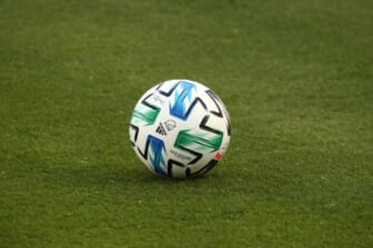 Oct 3, 2020; Dallas, Texas, USA;  Closeup of an MLS soccer ball before the match between the Columbus Crew and FC Dallas at Toyota Stadium. Mandatory Credit: Kevin Jairaj-USA TODAY Sports