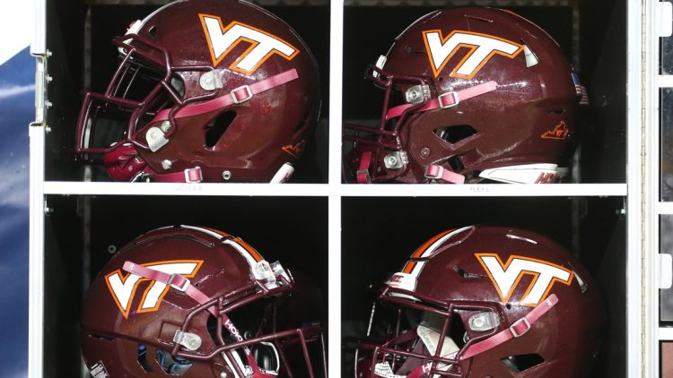 Nov 21, 2020; Pittsburgh, Pennsylvania, USA;  Helmets  inside the Virginia Tech Hokies equipment trunk on the sidelines against the Pittsburgh Panthers during the third quarter at Heinz Field. Pittsburgh won 47-14. Mandatory Credit: Charles LeClaire-USA TODAY Sports