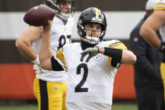 Jan 3, 2021; Cleveland, Ohio, USA; Pittsburgh Steelers quarterback Mason Rudolph (2) warms up before the game between the Cleveland Browns and the Pittsburgh Steelers during the first quarter at FirstEnergy Stadium. Mandatory Credit: Ken Blaze-USA TODAY Sports