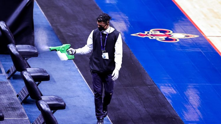Jan 25, 2021; New Orleans, Louisiana, USA;  The arena is being sanitized due to an NBA protocol both New Orleans Pelicans and San Antonio Spurs had players with Covid-19 so the game was canceled at Smoothie King Center. Mandatory Credit: Stephen Lew-USA TODAY Sports