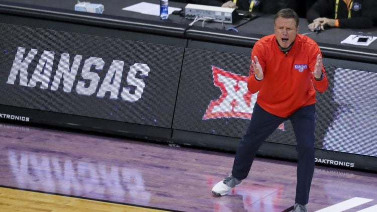 Mar 20, 2021; Indianapolis, IN, USA; Kansas Jayhawks head coach Bill Self yells to this team during the game against the Eastern Washington Eagles during the first round of the 2021 NCAA Tournament at Indiana Farmers Coliseum.  Mandatory Credit: Katie Stratman-USA TODAY Sports