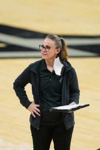 Apr 16, 2021; San Antonio, Texas, USA;  San Antonio Spurs assistant coach Becky Hammon looks on in the second half against the Portland Trail Blazers at the AT&T Center. Mandatory Credit: Daniel Dunn-USA TODAY Sports