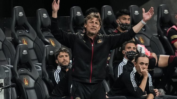 Apr 24, 2021; Atlanta, Georgia, USA; Atlanta United head coach Gabriel Heinze reacts on the sideline during the second half against the Chicago Fire at Mercedes-Benz Stadium. Mandatory Credit: Dale Zanine-USA TODAY Sports