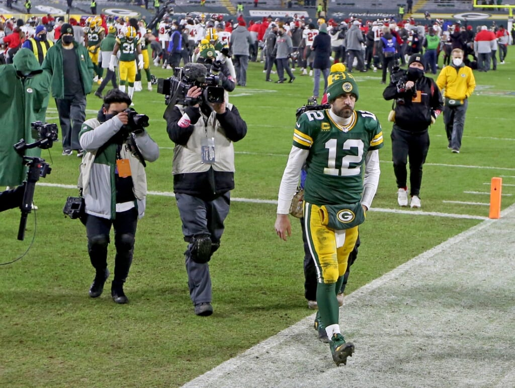 Green Bay Packers quarterback Aaron Rodgers (12) walks off the field fter the Green Bay Packers 31-26 loss to the Tampa Bay Buccaneers in the NFC Championship playoff game Sunday, Jan. 24, 2021 at Lambeau Field in Green Bay, Wis. - Photo by Mike De Sisti / Milwaukee Journal Sentinel via USA TODAY NETWORK ORG XMIT: DBY1Nickelcol01 P2