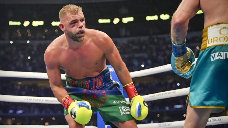 May 8, 2021; Arlington, Texas, USA; Boxer Billy Joe Saunders suffers a quadripod fracture to his orbital bone on a punch from Canelo Alvarez and loses on a technical knockout during a super middleweight boxing title fight at AT&T Stadium. Mandatory Credit: Jerome Miron-USA TODAY Sports