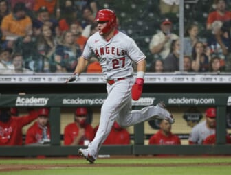 May 10, 2021; Houston, Texas, USA; Los Angeles Angels center fielder Mike Trout (27) runs towards home plate to score a run during the fourth inning against the Houston Astros at Minute Maid Park. Mandatory Credit: Troy Taormina-USA TODAY Sports