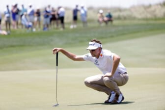 May 21, 2021; Kiawah Island, South Carolina, USA; Ian Poulter lines his putt on the fifteenth green during the second round of the PGA Championship golf tournament. Mandatory Credit: Geoff Burke-USA TODAY Sports
