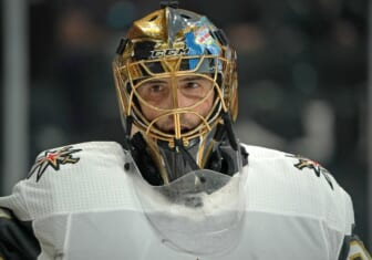 May 22, 2021; Saint Paul, Minnesota, USA; Vegas Golden Knights goalie Marc-Andre Fleury (29) takes a breather against the Minnesota Wild in game four of the first round of the 2021 Stanley Cup Playoffs at Xcel Energy Center. Mandatory Credit: Nick Wosika-USA TODAY Sports