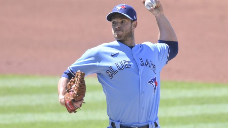May 30, 2021; Cleveland, Ohio, USA; Toronto Blue Jays starting pitcher Steven Matz (22) delivers a pitch in the first inning against the Cleveland Indians at Progressive Field. Mandatory Credit: David Richard-USA TODAY Sports