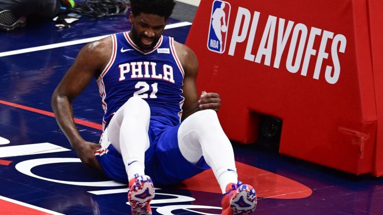 May 31, 2021; Washington, District of Columbia, USA; Philadelphia 76ers center Joel Embiid (21) reacts after a play during game four against the Washington Wizards  in the first round of the 2021 NBA Playoffs. at Capital One Arena. Mandatory Credit: Tommy Gilligan-USA TODAY Sports