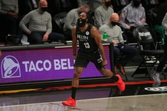 Jun 1, 2021; Brooklyn, New York, USA; Brooklyn Nets shooting guard James Harden (13) reacts after a basket against the Boston Celtics during the second quarter of game five of the first round of the 2021 NBA Playoffs at Barclays Center. Mandatory Credit: Brad Penner-USA TODAY Sports