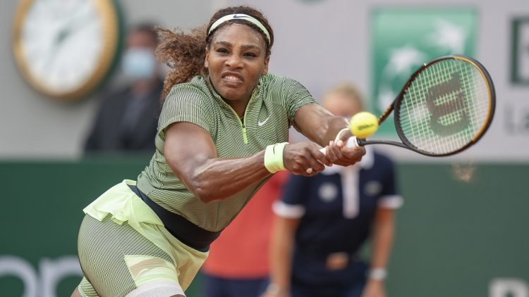 Jun 2, 2021; Paris, France;  Serena Williams (USA) in action during her match against Mihaela Buzarnescu (ROU) on day four of the French Open at Stade Roland Garros. Mandatory Credit: Susan Mullane-USA TODAY Sports