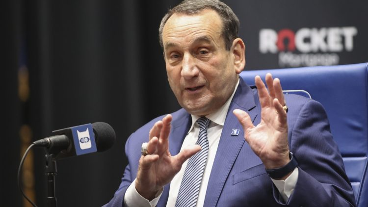 Jun 3, 2021; Durham, NC, USA; Duke Blue Devils basketball head coach Mike Krzyzewski answers a question at a press conference at Cameron Indoor Stadium announcing his plan to retire after the 2021-22 season. Mandatory Credit: Nell Redmond-USA TODAY Sports