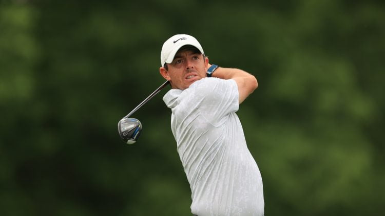 Jun 4, 2021; Dublin, Ohio, USA; Rory McIlroy hits his tee shot on the 18th hole during the conclusion of the rain-delayed first round of the Memorial Tournament golf tournament. Mandatory Credit: Aaron Doster-USA TODAY Sports