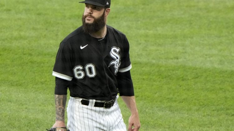 Jun 4, 2021; Chicago, Illinois, USA; Chicago White Sox starting pitcher Dallas Keuchel (60) reacts after the fourth inning against the Detroit Tigers at Guaranteed Rate Field. Mandatory Credit: Mike Dinovo-USA TODAY Sports