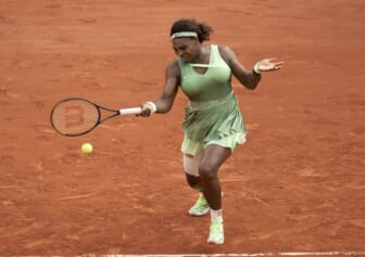 Jun 6, 2021; Paris, France; Serena Williams (USA) in action during her match against Elena Rybakina (KAZ) on day eight of the French Open at Stade Roland Garros. Mandatory Credit: Susan Mullane-USA TODAY Sports
