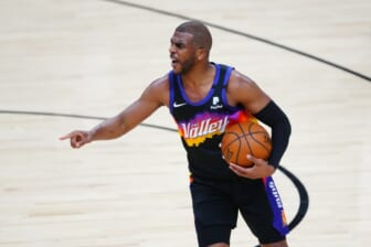Jun 7, 2021; Phoenix, Arizona, USA; Phoenix Suns guard Chris Paul reacts against the Denver Nuggets in the first half during game one in the second round of the 2021 NBA Playoffs at Phoenix Suns Arena. Mandatory Credit: Mark J. Rebilas-USA TODAY Sports