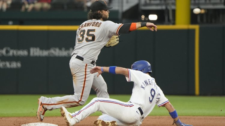 Jun 8, 2021; Arlington, Texas, USA; San Francisco Giants shortstop Brandon Crawford (35) throws to first base after forcing out Texas Rangers shortstop Isiah Kiner-Falefa (9) completing the double play during the third inning at Globe Life Field. Mandatory Credit: Jim Cowsert-USA TODAY Sports