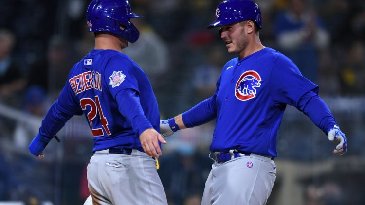 Jun 8, 2021; San Diego, California, USA; Chicago Cubs first baseman Anthony Rizzo (right) celebrates with left fielder Joc Pederson (24) after hitting a two-run home run against the San Diego Padres during the seventh inning at Petco Park. Mandatory Credit: Orlando Ramirez-USA TODAY Sports
